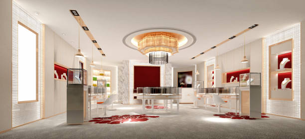 3d render of jewelry shop 3d render of jewelry shop jeweller stock pictures, royalty-free photos & images