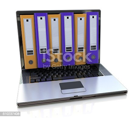 462138083istockphoto 3d render of laptop with colored folders inside screen. Storage 510237408