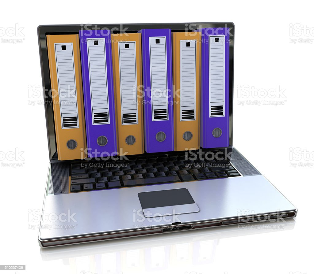 3d render of laptop with colored folders inside screen. Storage stock photo