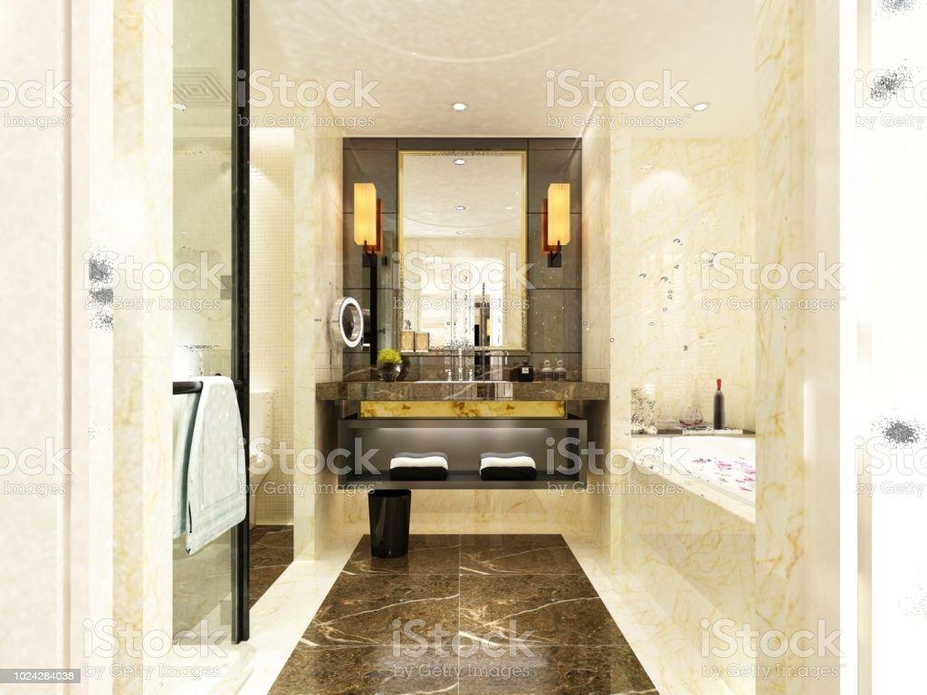 11d Render Des Luxushotelbadezimmer Stockfoto und mehr Bilder von Architektur