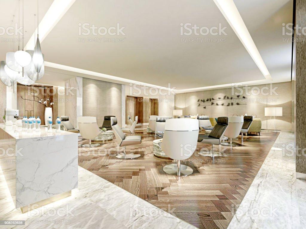 renderização 3D de luxo hotel lobby e bar - foto de acervo