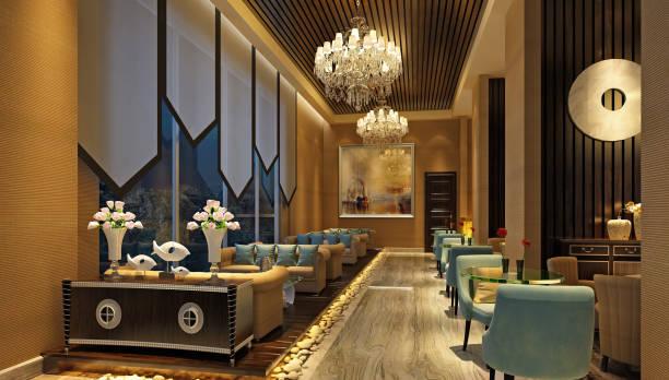 3d render des luxus-hotel-lobby und bar - club sofa stock-fotos und bilder