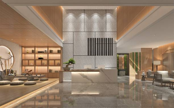 3d render of luxury hotel lobby and reception 3d render of luxury hotel lobby and reception checkout stock pictures, royalty-free photos & images