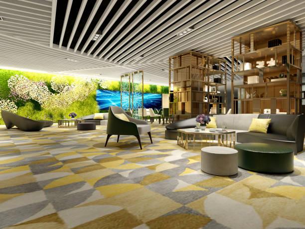 3d render des luxus-hotel-lobby und rezeption - club sofa stock-fotos und bilder