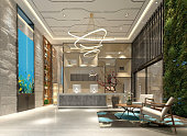 3d render of luxury hotel lobby entrance reception