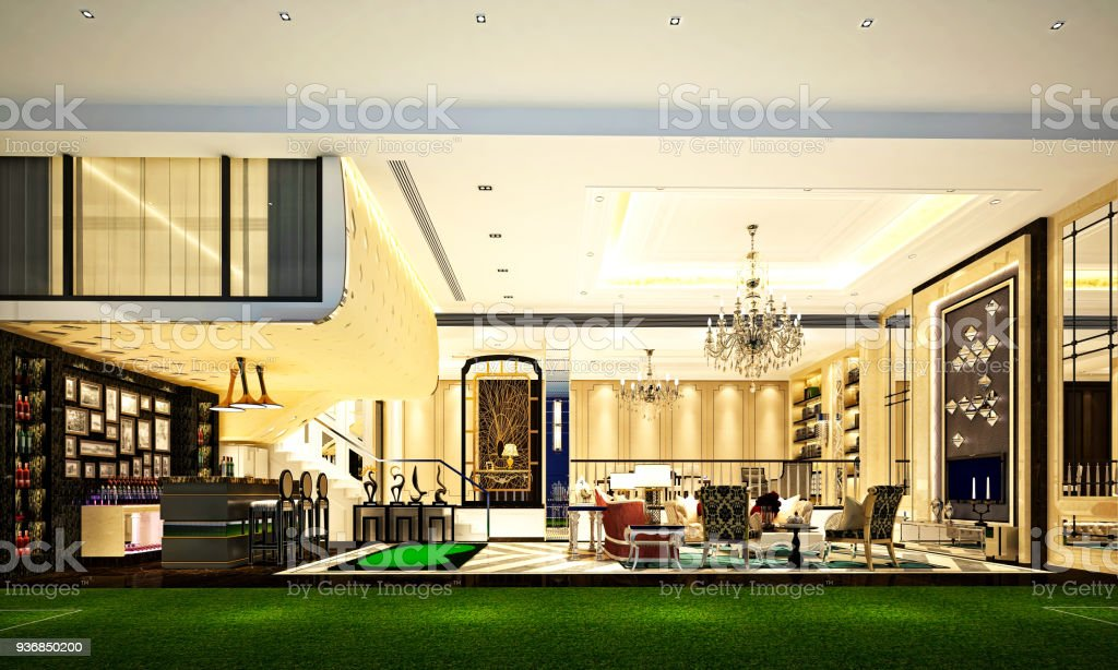 3d Render Of Luxury House Interior Stock Photo More Pictures Of