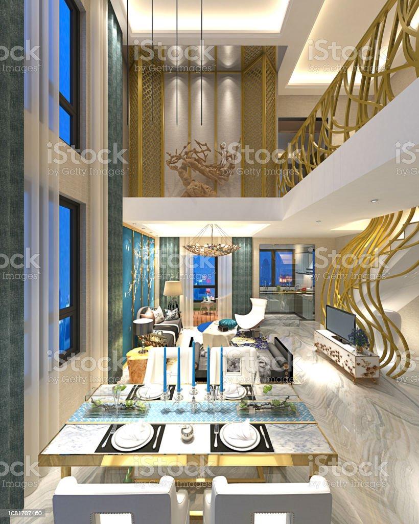 Interieur De Luxe Appartement 3d render van luxe moderne huis interieur stockfoto en meer