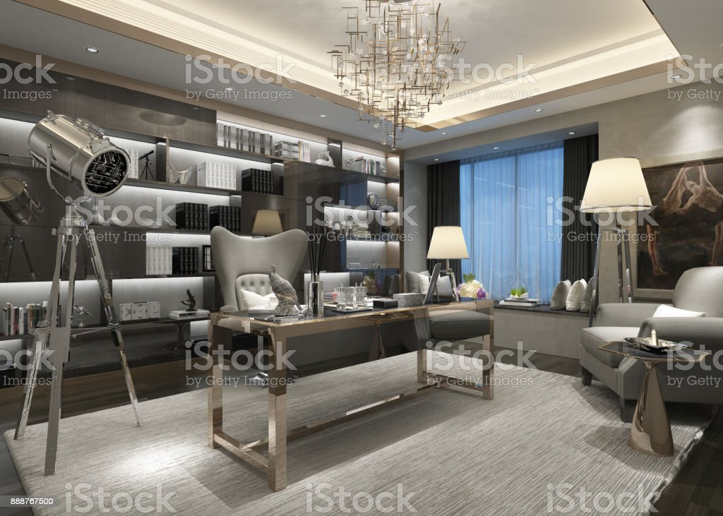 Incroyable 3d Render Of Luxury Office Stock Photo   Download Image Now