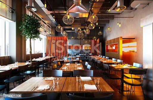 istock 3d render of luxury restaurant interior 1079901206