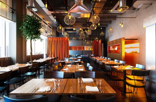 3d render de interior de restaurante de lujo - restaurante fotografías e imágenes de stock