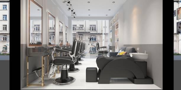rendu 3d de l'homme barber shop - salon de coiffure photos et images de collection