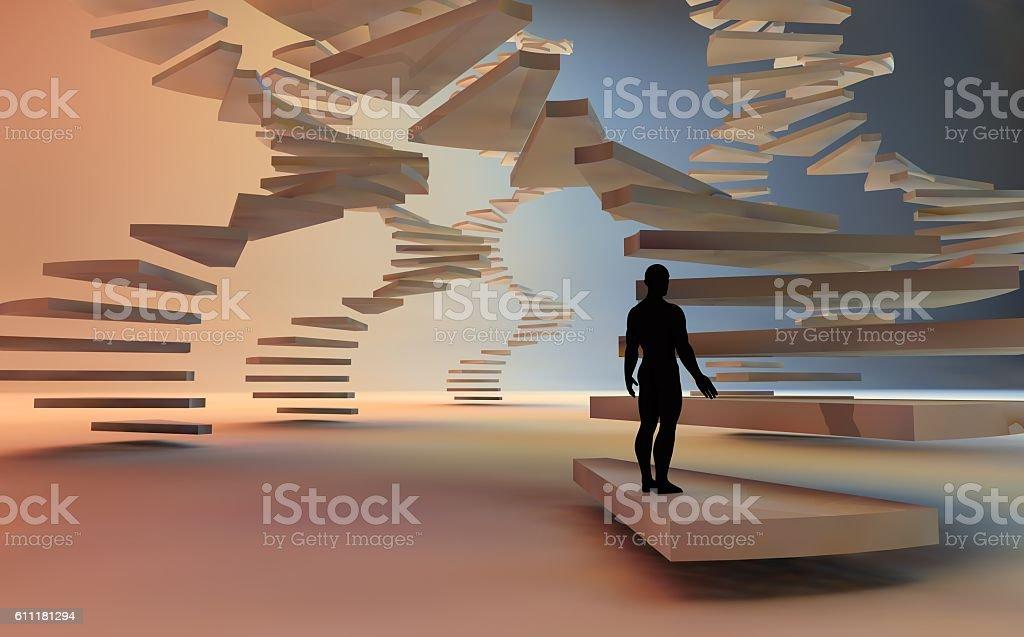 3d render of man climbing a spiral stair – Foto