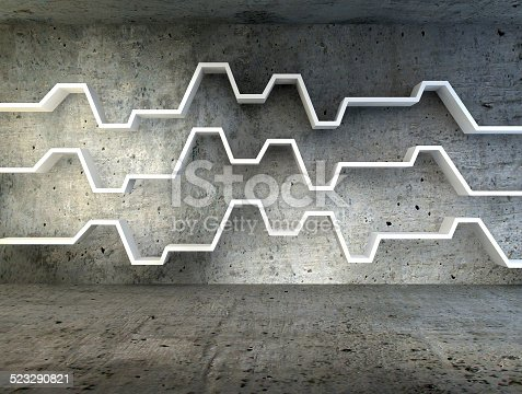 639291528istockphoto 3d render of minimalist shelf over dramatic concrete background 523290821
