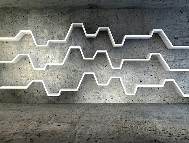 3 d render des minimalistischen Regal über dramatische konkrete Hintergrund – Foto
