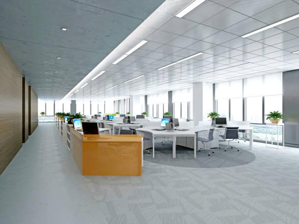 現代の空のオフィスの 3 d レンダリング - 天井 ストックフォトと画像