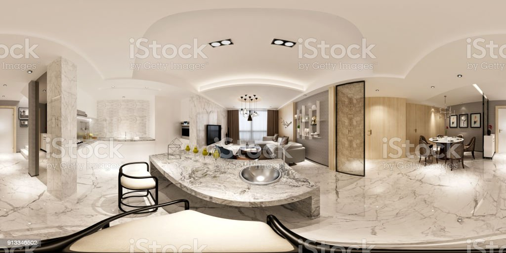 3d Render Of Modern Home Interior 360 Degrees View Stock Photo