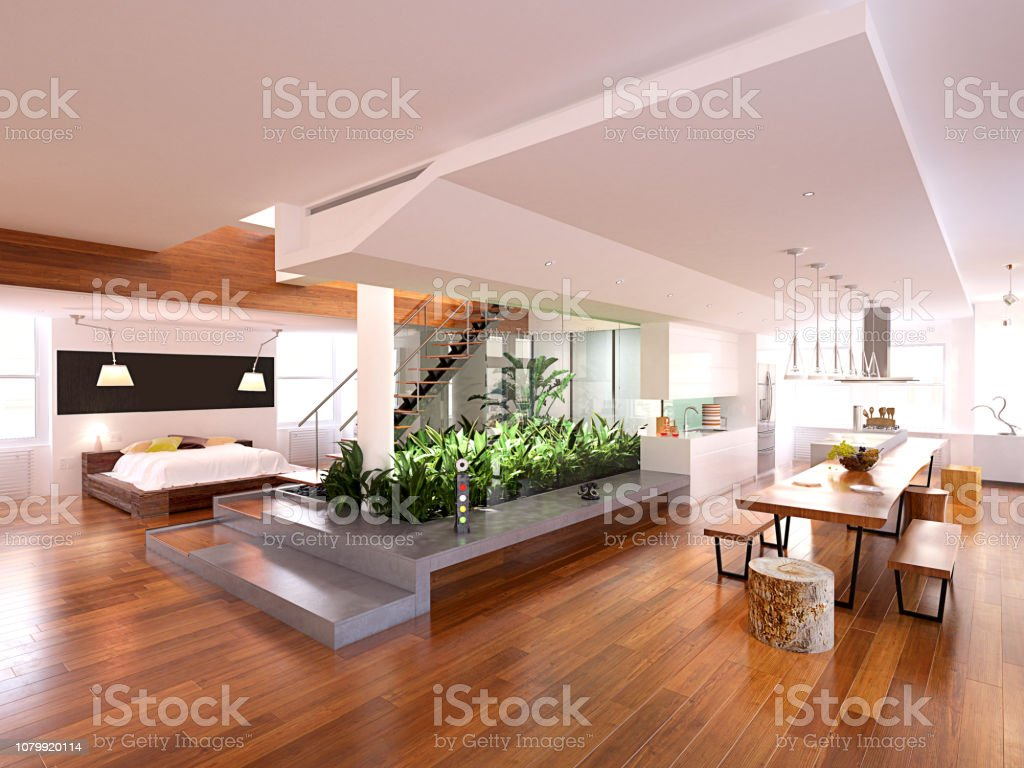 3d Render Von Modernem Luxus Haus Innen Stockfoto Und Mehr Bilder Von Architektur Istock