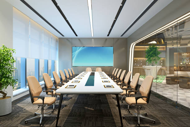 3d render of modern office and meeting room 3d render of modern office and meeting room board room stock pictures, royalty-free photos & images