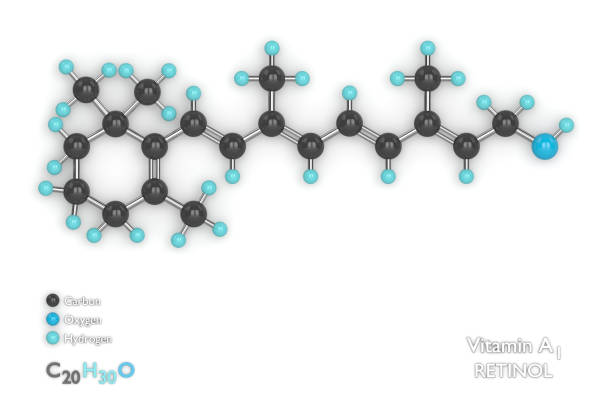 render 3d de modelo molecular y fórmula de vitamina a1 - vitamina a fotografías e imágenes de stock