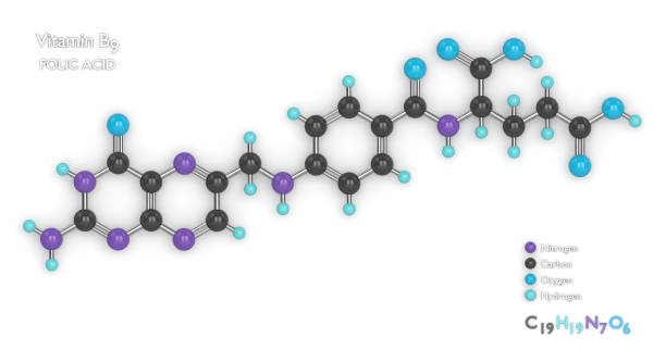 3d render of molecular model and formula of vitamin B9 stock photo