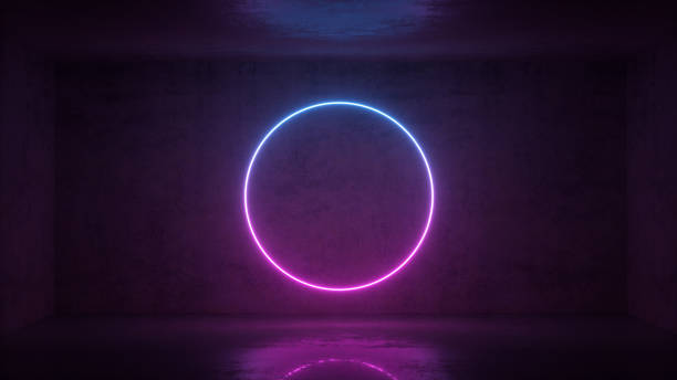 3d render of neon circle frame on background in the room. Banner design. Retrowave, synthwave, vaporwave illustration. stock photo