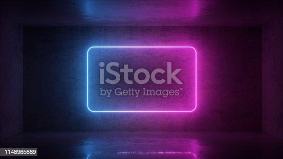 istock 3d render of neon frame on background in the room. Banner design. Retrowave, synthwave, vaporwave illustration. 1148985889