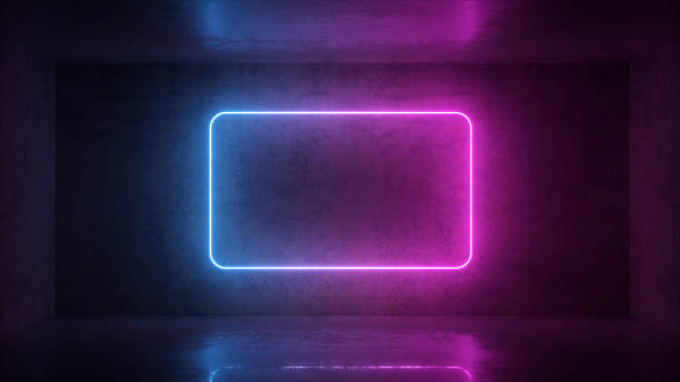 3d render of neon frame on background in the room. Banner design. Retrowave, synthwave, vaporwave illustration. stock photo