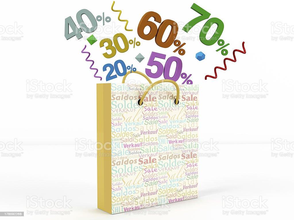 3D rendering of a numbers in bag