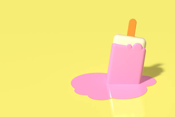 3d render of one pink stick ice cream melting on pastel yellow background. Minimal summer concept.