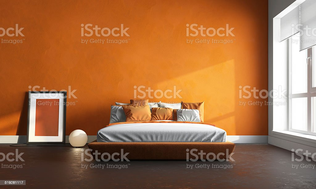 3 d render of orange Schlafzimmer – Foto