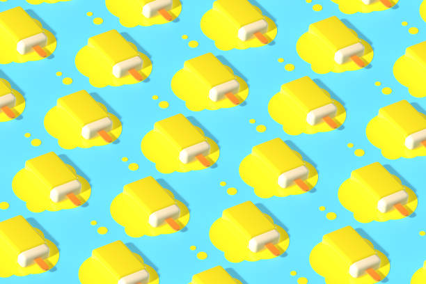 3d render of pattern yellow fruit sticks ice cream melting on pastel blue background. Minimal summer concept.