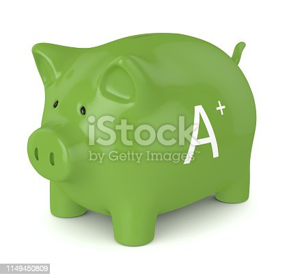 3d render of piggy bank with A+  energy efficiency class  isolated over white background. Energy efficiency concept