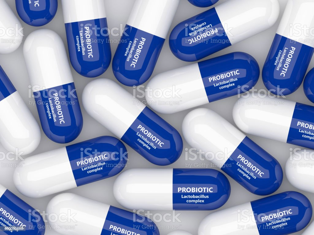 3d render of probiotic pills over white stock photo