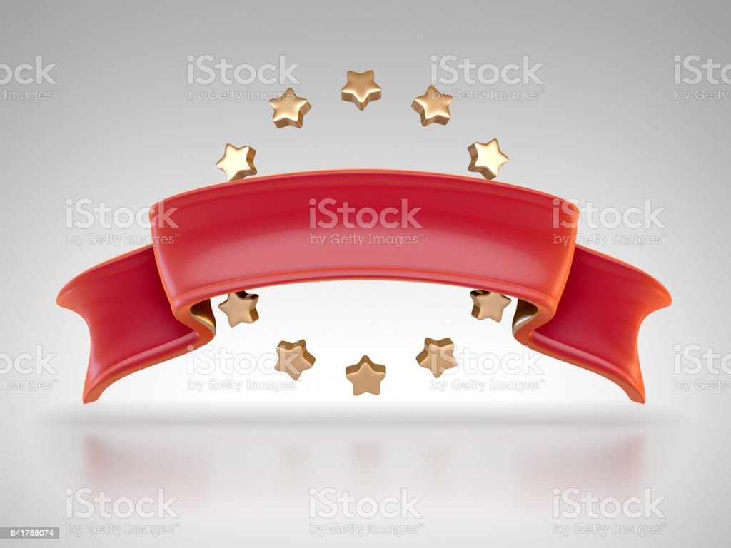 3d render of red ribbon with stars stock photo