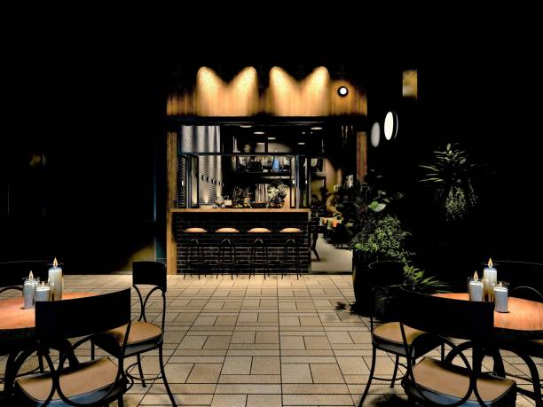 3d render of restaurant outdoor - low lighting stock photos and pictures