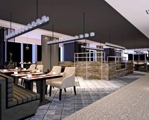 3d render restaurant - restaurant inneneinrichtung stock-fotos und bilder