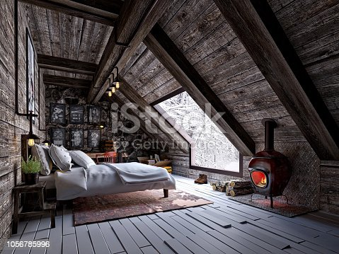 3d render of roof bedroom, wooden structure, wooden house