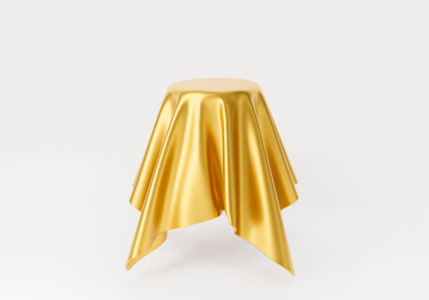 3d render of round table with golden silk fabric cloth for sales banner, template, display product, stage podium. Empty tablecloth isolated on white background. Abstract cosmetics background. stock photo