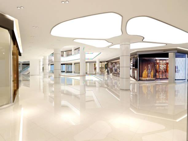 ショッピング モール内部の 3 d レンダリング - ショッピングセンター ストックフォトと画像