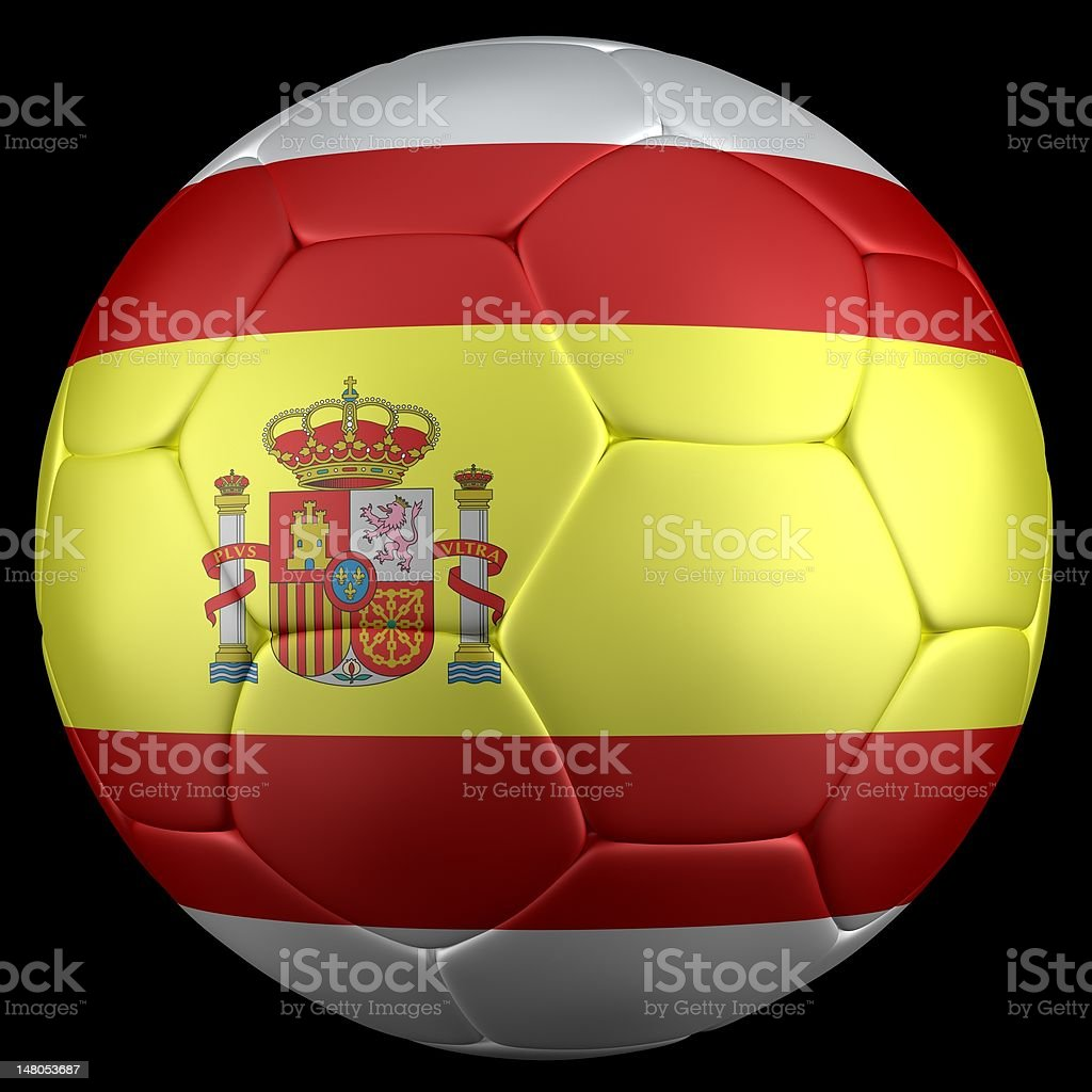 3d render of soccer ball, spain flag royalty-free stock photo