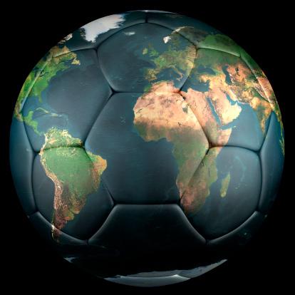 3d render of soccer ball, world map