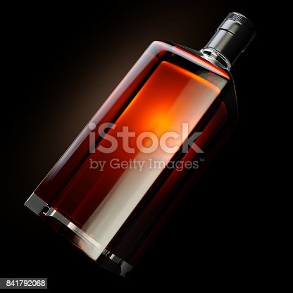 istock 3d render of square shaped bottle filled with strong whiskey 841792068