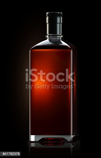 istock 3d render of square shaped bottle filled with strong whiskey 841792078