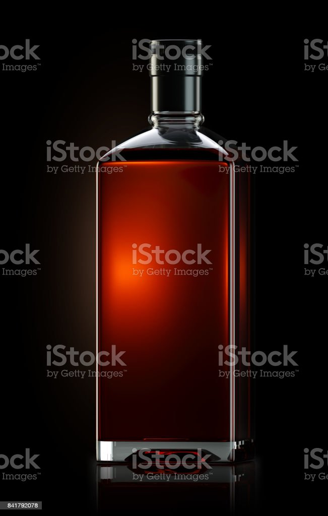 3d render of square shaped bottle filled with strong whiskey stock photo