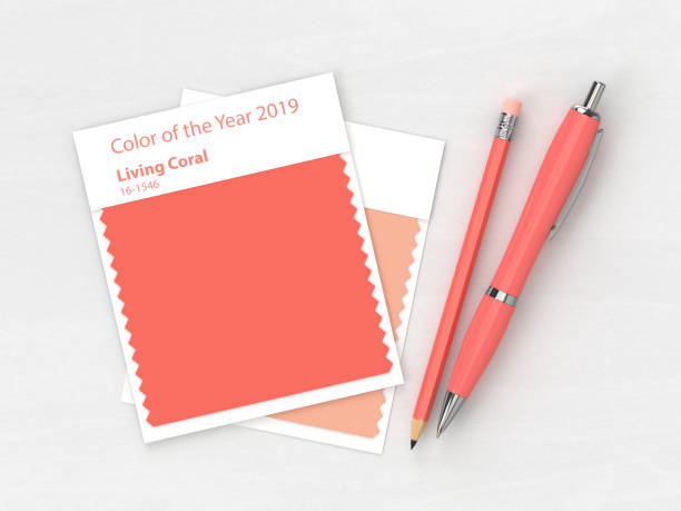 3d render van briefpapier met textiel kleurstaal - kleurenwaaier stockfoto's en -beelden