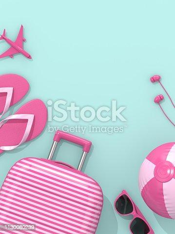 istock 3d render of suitcase with vacation stuff over blue background 1130080239