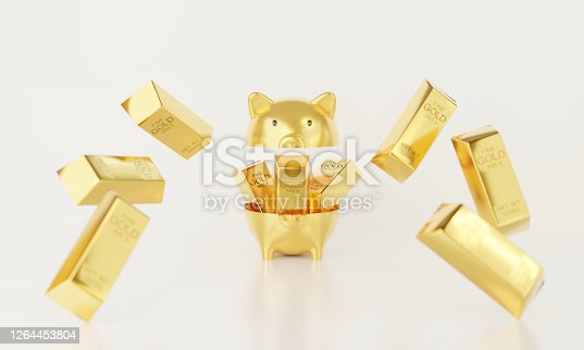 3d render of surprise inside open piggy bank isolated on white background abstract. Golden pig with yellow metal gold bar falling. Pecuniary profit, monetary and lottery winner concept.