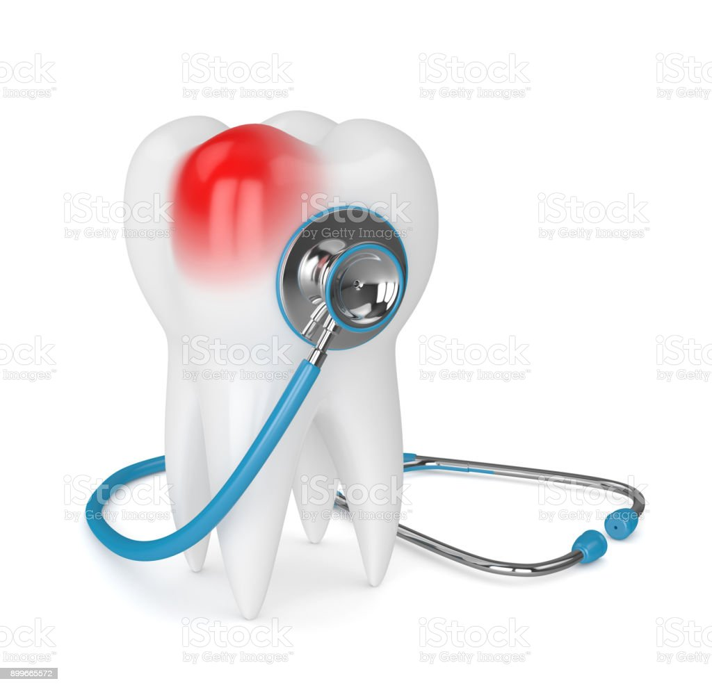3d Render Of Tooth With Stethoscope Over White Stock Photo & More ...