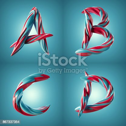 istock 3d render of twisted colorful letters with shiny paint surface effect 867337354