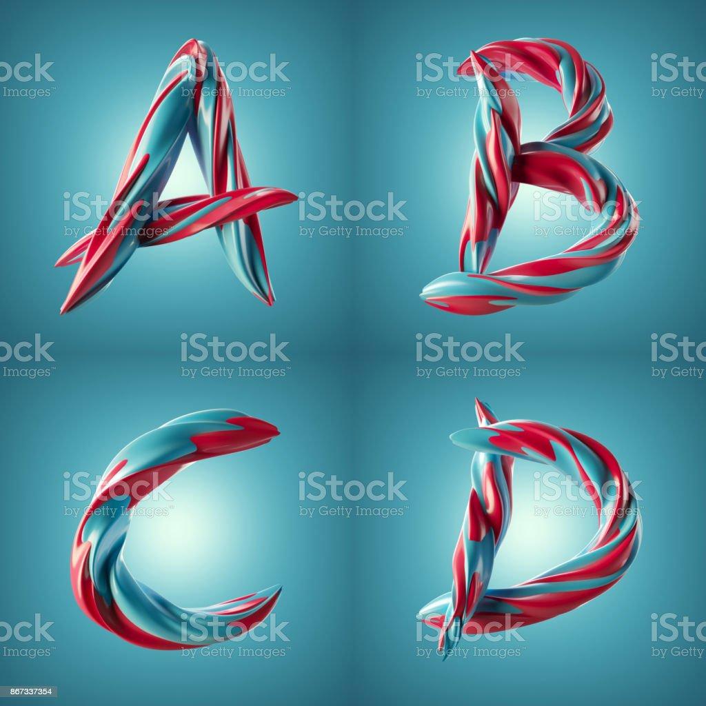 3D render da torcida letras coloridas com efeito de superfície de pintura brilhante - foto de acervo